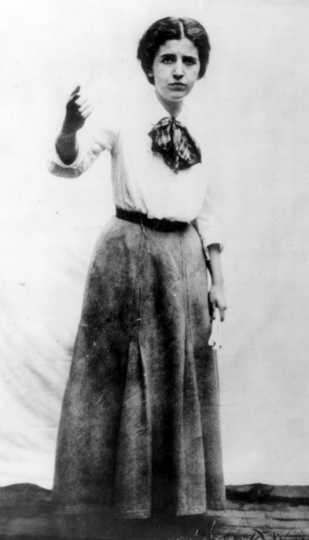 Black and white photograph of Elizabeth Gurley Flynn, c.1915. Flynn was an IWW organizer and speaker during the Mesabi Range Strike of 1916.