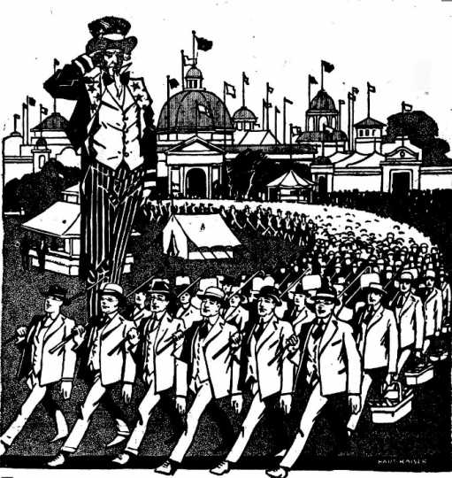 Black and white newspaper cartoon by Hart Kaiser advertising the Food Training Camp at the Minnesota State Fair. Image is from the Bemidji Daily Pioneer, August 18, 1917.