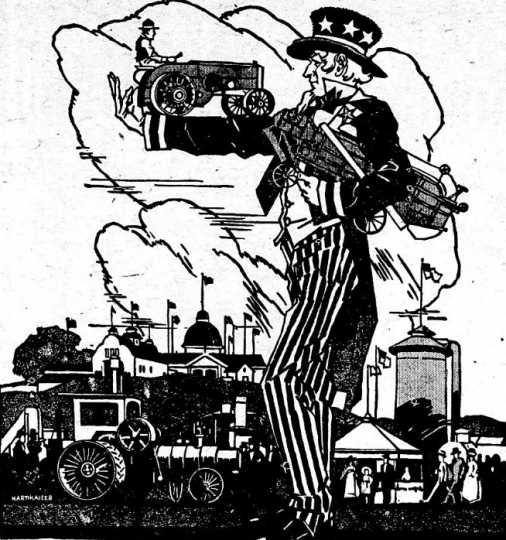 Black and white scan of a newspaper cartoon advertising the Food Training Camp at the Minnesota State Fair. Image is from the St. Paul Appeal, August 4, 1917.