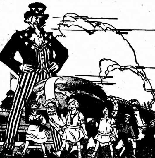 Black and white scan of a newspaper cartoon advertising the involvement of children in the Food Training Camp at the Minnesota State Fair. Image is from the Willmar Tribune, August 15, 1917.