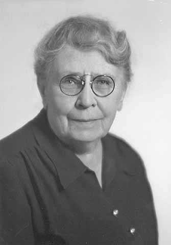 Black and white photograph of Frances Densmore, 1949.
