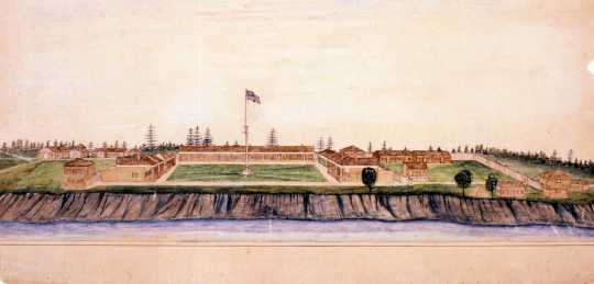 Watercolor of 1868 Fort Ripley by Col. Edward G. Bush (1838–1892). Painted by Bush in 1880 upon revisiting the fort that he commanded September 1868 to May 1869 while a thirty-year-old captain.  The painting depicts the fort as he remembered it in 1868.