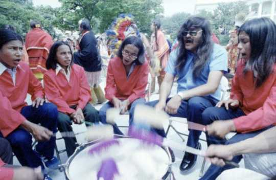 Drummers from the Red Lake Band of Ojibwe provide accompaniment for a dance performed for Vice President Walter Mondale.