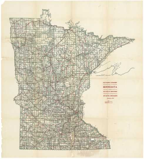 Map of state roads, 1919