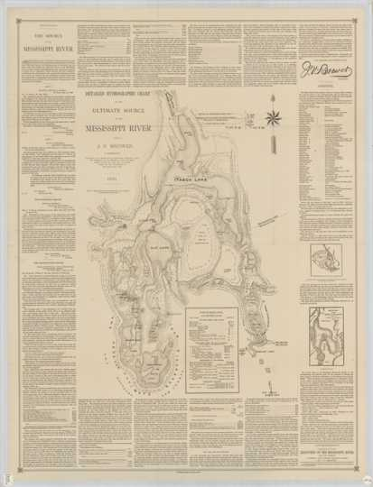 Detailed hydrographic chart of the source of the Mississippi River (Lake Itasca) and surrounding area completed by Jacob Brower in 1891.