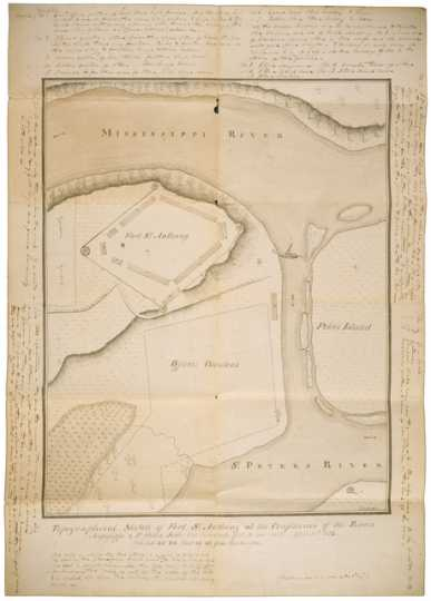Topographical map of Fort St. Anthony (Fort Snelling), 1823. Drawn by Sergeant Joseph E. Heckle with marginal notes by Major Josiah H. Vose, Fifth U.S. Infantry.
