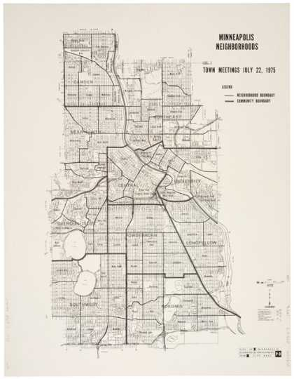 Map showing Minneapolis neighborhoods, before the city split Bryn Mawr from Near North, ca. 1975. Minneapolis Department of Planning and Development.