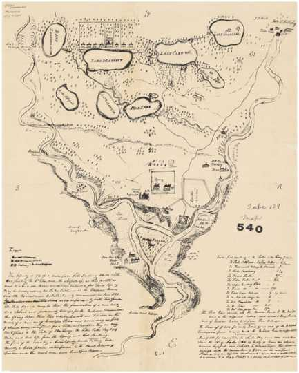 Lawrence Taliaferro's hand-drawn map of Fort Snelling and vicinity, 1835.