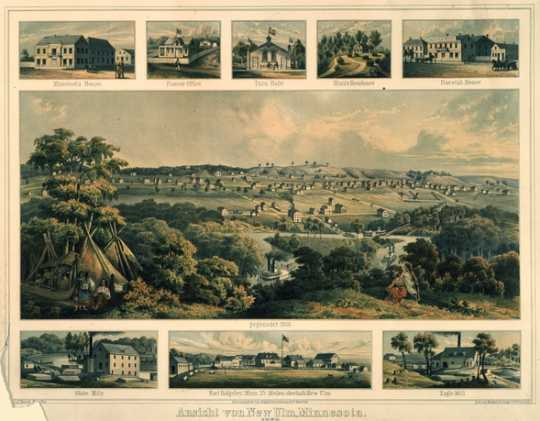 Color illustration of New Ulm, c.1860.