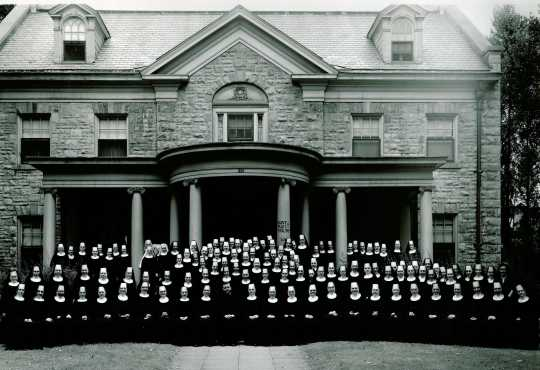 Sisters of St. Benedict in front of the Gardner family house