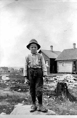 Black and white photograph of a Bohemian boy, Virginia, 1914.