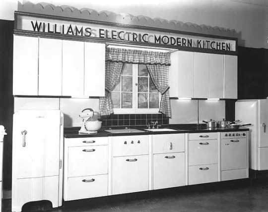 Black and white photograph of a Williams Electric Kitchen model, ca. 1938. Photographed by the Lee Brothers.