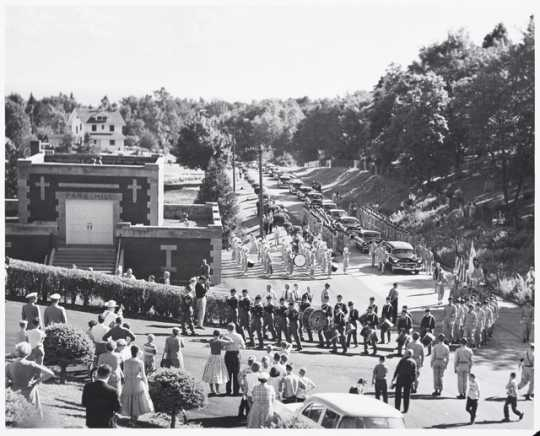 Albert Woolson's funeral procession, August 7, 1956.