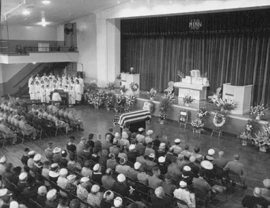 Albert Woolson's funeral in the Duluth Armory, August, 7, 1956.