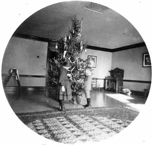 Black and white photograph of Gertrude and Walter J. Hill standing in front of a Christmas tree at the James J. Hill house, 240 Summit, St. Paul, 1891.