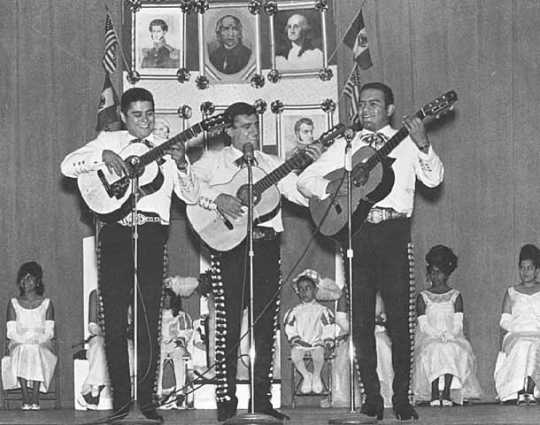 Black and white photograph of Guitarists at a Mexican Independence celebration, September 15, 1970.