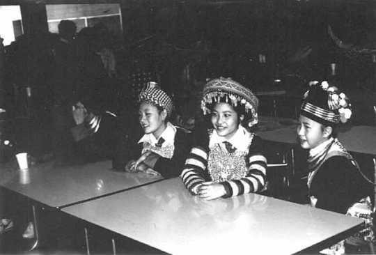 Black and white photograph of the 1981 Hmong New Year, held in St. Paul's Highland Junior-Senior High School. Photographed by Marlin Heise on December 19, 1981.