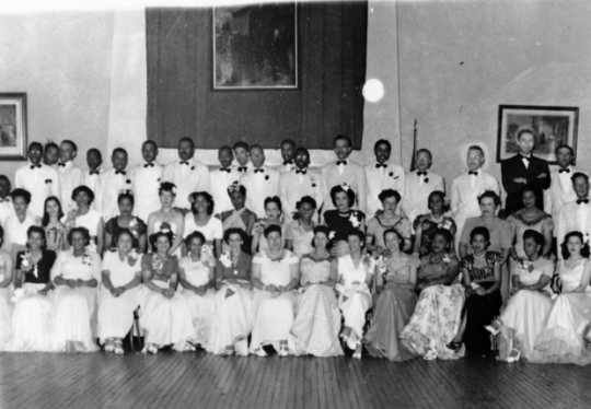 Black and white photograph of members of the Credjafawn Social Club, ca. 1950.