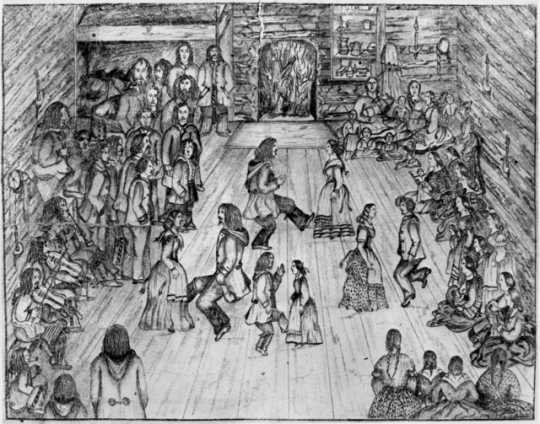 Métis dance at Devil's Lake, Dakota Territory, ca. 1870. Drawing by Corporal Louis Voelkerer, Company A, Thirty-first United States Infantry.
