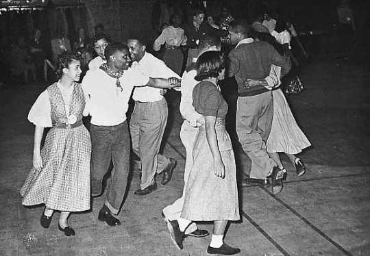 Black and white photograph of a square dance, Hallie Q. Brown Center, St. Paul, 1952.