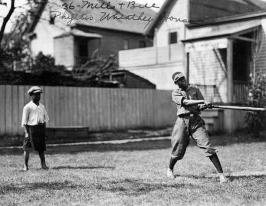 Black and white photograph of a baseball game at the Phyllis Wheatley House, ca. 1925.