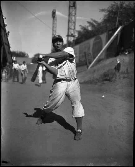 Roy Campanella, June 13, 1948. In that year, Campanella became the first African American to play in the American Association when he played for the St. Paul Saints. Photograph by the St. Paul Dispatch-Pioneer Press.