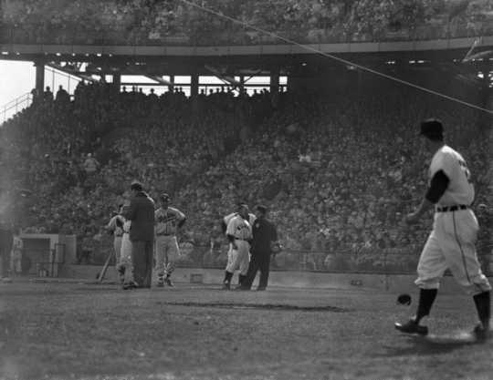 Black and white photograph of the Minneapolis Millers versus the Wichita Braves at Metropolitan Stadium, April 24, 1956.