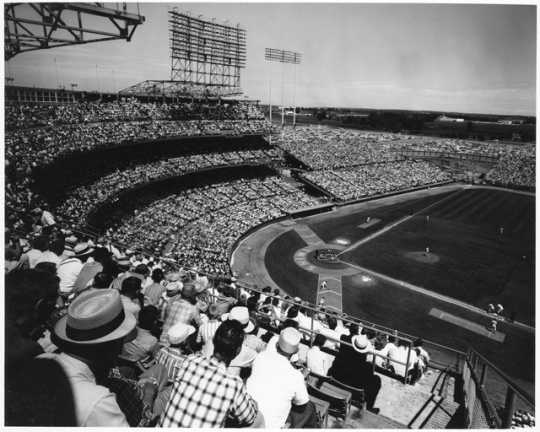 View of a Minnesota Twins game from the upper deck of Metropolitan Stadium, early 1960s. Photograph by Robert Rydeen.