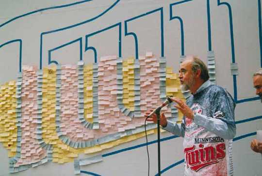 Color image of the 3M Post-it Note fan board for the World Series, 1991.