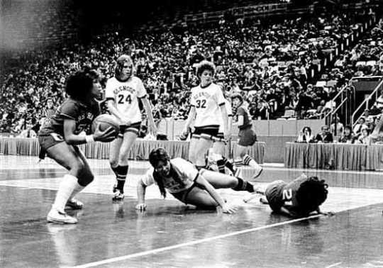 Marshall plays Glencoe in the girls' state basketball tournament at the Met Center in Bloomington, 1976.