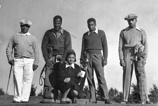 Black and white photograph of a group of golfers including Jimmie Slemmons, ca. 1938.