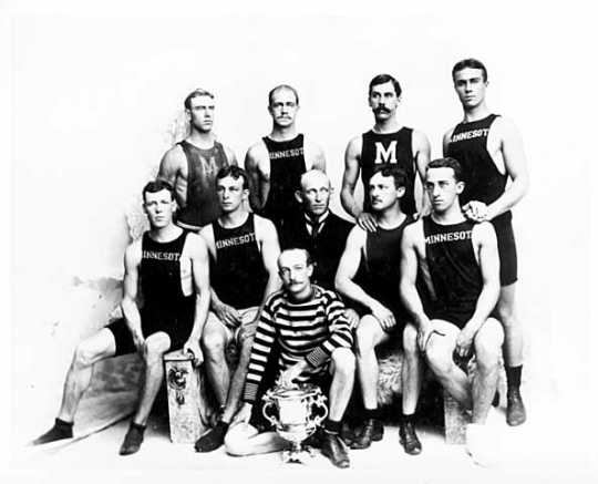 Minnesota Boat Club members with trophy, 1893.