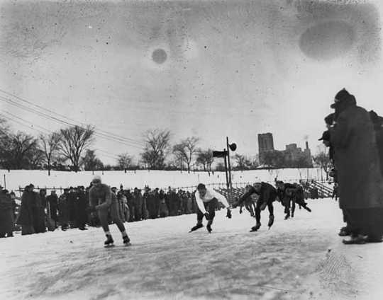 Powderhorn Park, shown ca. 1935, was home to many of the top speedskaters in the US between 1930 and 1950.