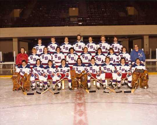 Color image of the he 1980 United States Olympic Hockey Team, 1980.