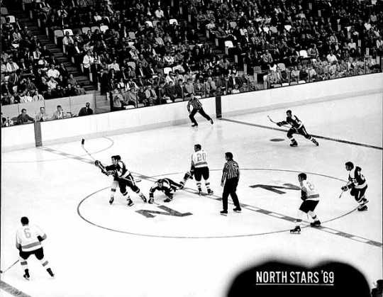 The Minnesota North Stars hockey team at the Metropolitan Sports Center, 1969. The Minnesota North Stars played their home games at the Bloomington venue, better known as the Met Center.