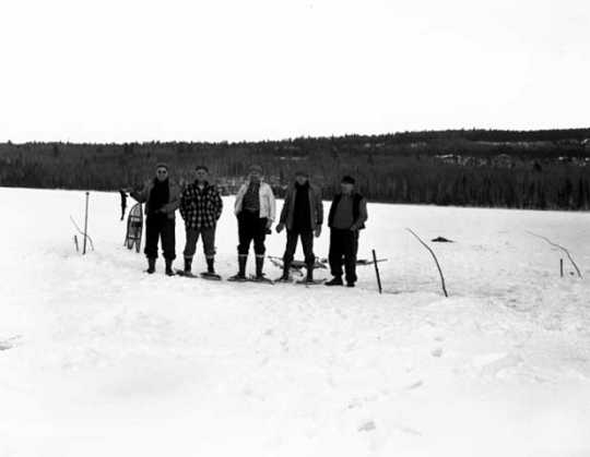 Men on a snowshoeing outing along the Gunflint Trail. Photograph by Kenneth Melvin Wright, 1944.