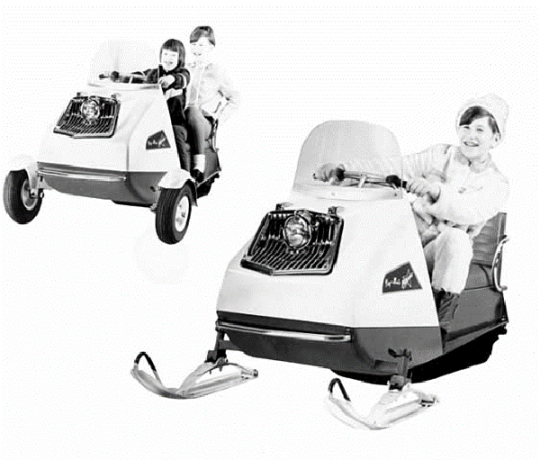 Promotional photo of the 1969 Polaris Playmate, including wheel kit.