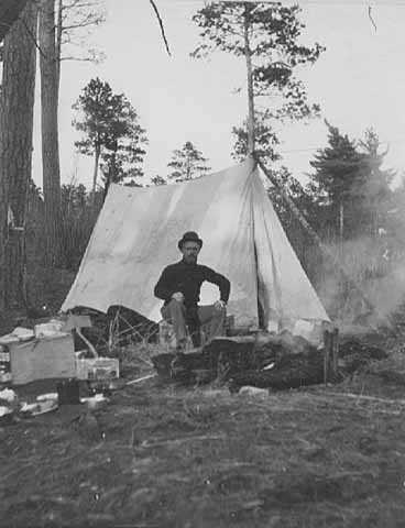 Black and white photograph of Outdoor activities at Itasca State Park, 1898.