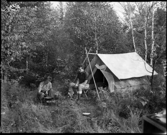 Elaine and Fred Roleff camping on the Gunflint Trail. Photograph by William F. Roleff, 1935.