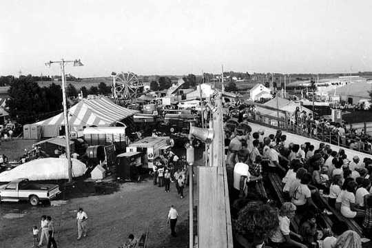 Black and white photograph of the Goodhue County Fair, 1984.
