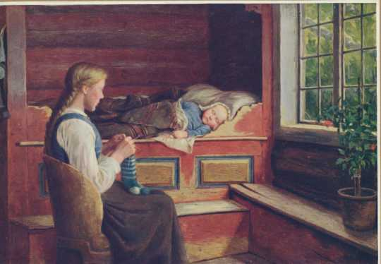 """Painting by Herbjorn Gausta titled """"Young Mother,"""" 1885."""