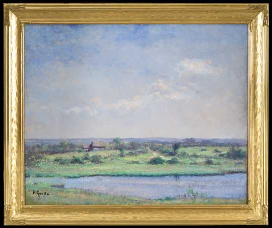 Painting of a farm landscape by Herbjorn Gausta