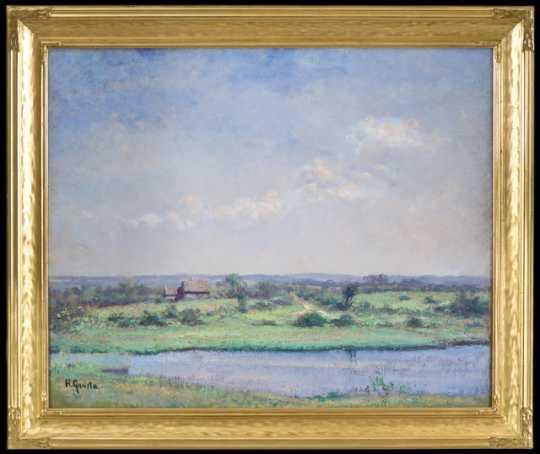 Painting of a farm landscape by Herbjorn Gausta