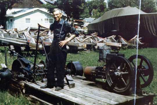 George Finstad in the boat yard at Finstad's Auto-Marine Shop