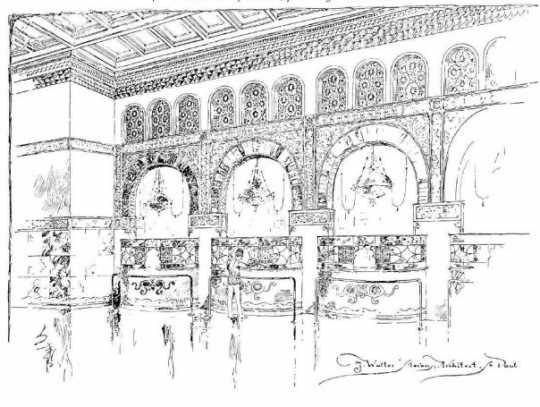 A design sketch by Harvey Ellis for the interior of a bank, probably the Germania. The sketch was published in Western Architect (February 1904) and reproduced in Minnesota History 40, no. 3 (Fall 1966): 101.