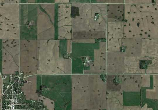 Aerial view of sinkholes in Fillmore County