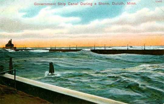 Government ship canal during a storm, Duluth, Minn.