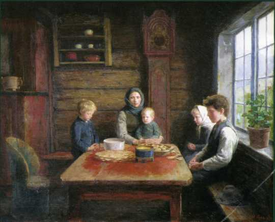 "Painting by Herbjorn Gausta titled ""Grace Before the Meal,"" 1880–1889."