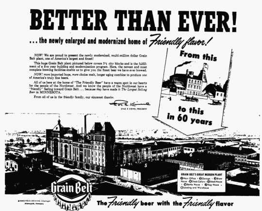 Grain Belt print advertisement signed by Charles E. Kiewel, president of Minneapolis Brewing Company, 1951.