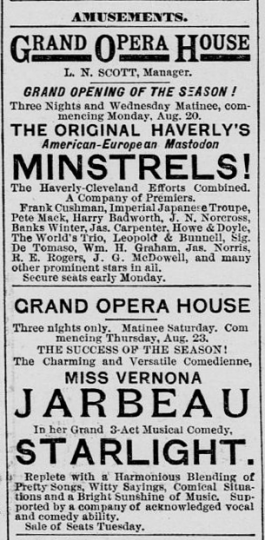 Advertisement of the opening of the St. Paul Grand Opera House's 1888 season